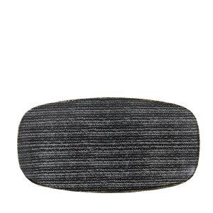 CHARCOAL BLACK - OBLONG CHEFS PLATE 29.8 x 15.3cm (12)