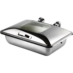 CHAFER INDUCTION RECTANGULAR 'SMART W' WITH GLASS LID 18/10 S/STEEL 581 x 435 x 210mm 8Lt