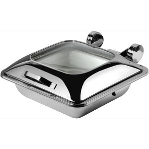 CHAFER INDUCTION SQUARE 'SMART W' WITH GLASS LID 18/10 S/STEEL 410 x 440 x 180mm 5.5Lt