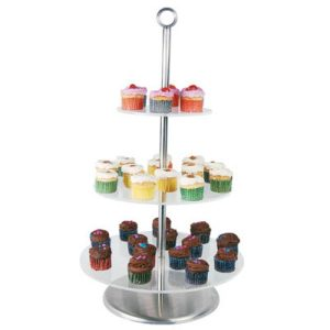 CAKE STAND CLEAR PLASTIC - 3 TIER 340 x 285 x 190mm