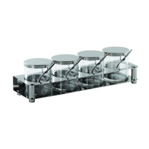 CONDIMENT SET S/STEEL INCLUDES: 4 JARS + SPOONS +TRAY 360 x 110 x 107mm 1.47 KG