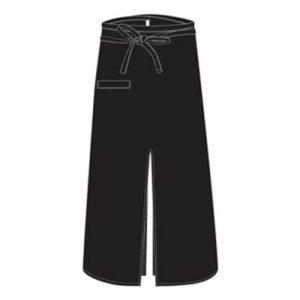 CHEFS UNIFORM - BISTRO APRON WITH SLIT - BLACK