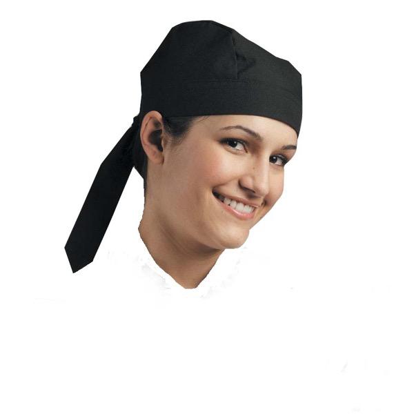 CHEFS UNIFORM - SCULL CAP (TIE AT BACK) BLACK