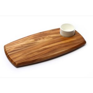 WOODEN SERVING BOARD WITH DIP BOWL (70ml BOWL) 180 x 362 x 20mm