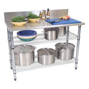 WORK TABLE S/STEEL - 2-TIER - SPLASHBACK 1300 x 690 x 870mm